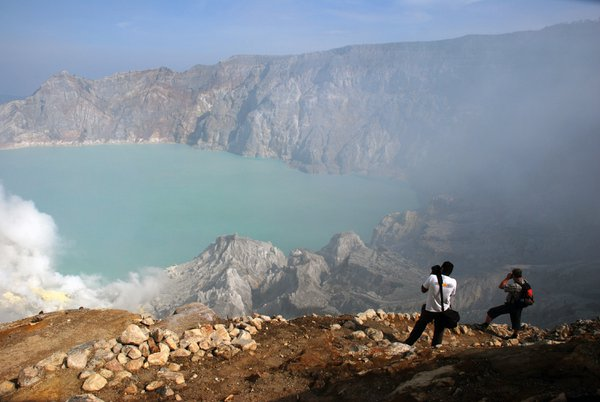 Wonderful panorama of Ijen Crater in East Java, but hard to reach there. thumbnail