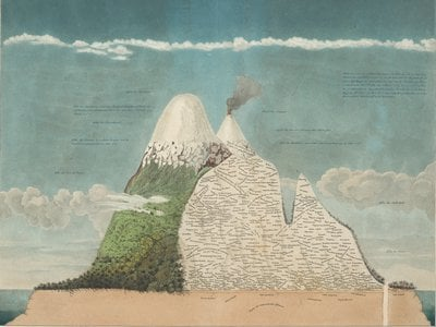 """Scientific illustrations, Humboldt once wrote, should """"speak to the senses without fatiguing the mind."""" His famous illustration of Chimborazo volcano in Ecuador shows plant species living at different elevations."""