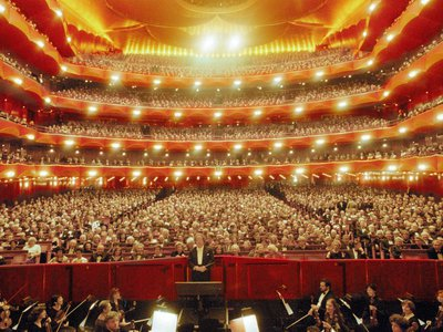 General view of the audience and the Metropolitan Opera Orchestra