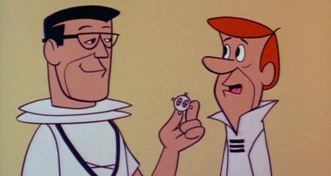 """The doctor shows George his """"Peek-A-Boo Prober Capsule"""" (1962)"""