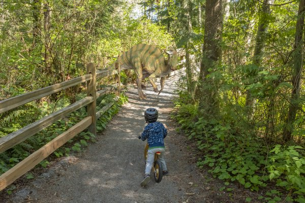 A boy riding a bike is startled by a dinosaur. thumbnail