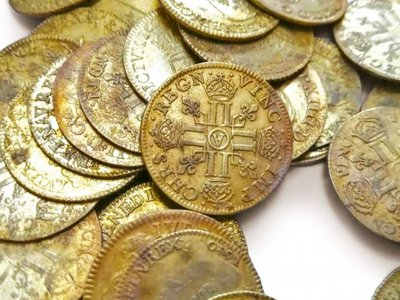 Workers discovered a trove of rare gold coins, pictured here, in the walls of a historic French mansion in 2019. Now, the coins are going up for auction.