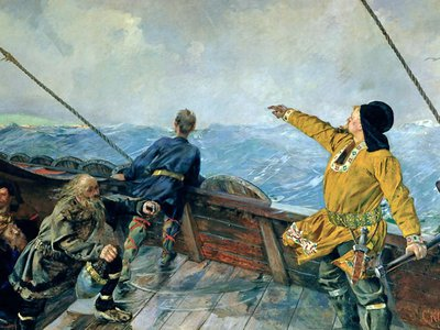 Leif Erikson pointing toward North America. Did he use a sunstone to navigate the open seas?
