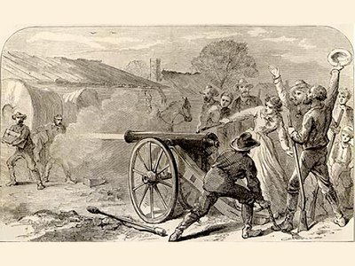 Angelina Eberley fires off the cannon at the agents attempting to move the archives from her hometown of Austin.