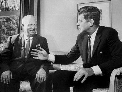 Soviet Premier Nikita Khrushchev talking with President John F. Kennedy during Vienna Summit.