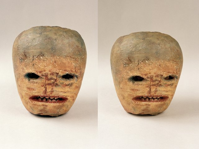 """A plaster cast of a """"ghost turnip"""" carving from Donegal, Ireland"""