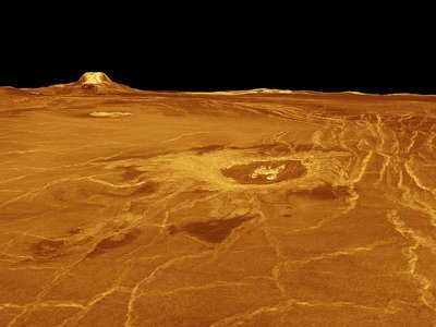 Scientist know that Venus' surface, depicted here based on radar data, was shaped by volcanoes, and a new study suggests they may still be active.