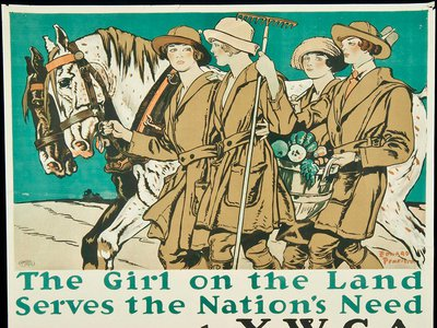 A poster by artist Edward Penfield promotes The Woman's Land Army of America, created to encourage women to step into agricultural jobs after men were called into military service.