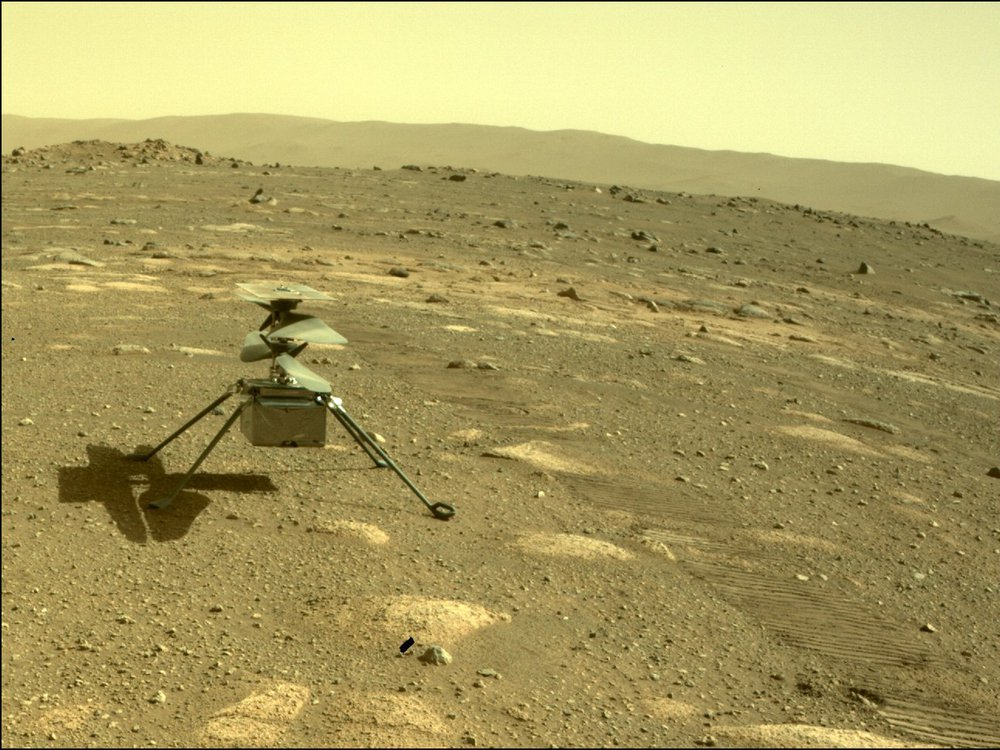 An image of the Ingenuity Mars Helicopter