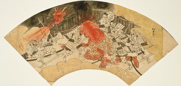19th century fan painting by Kawanabe Kyosai