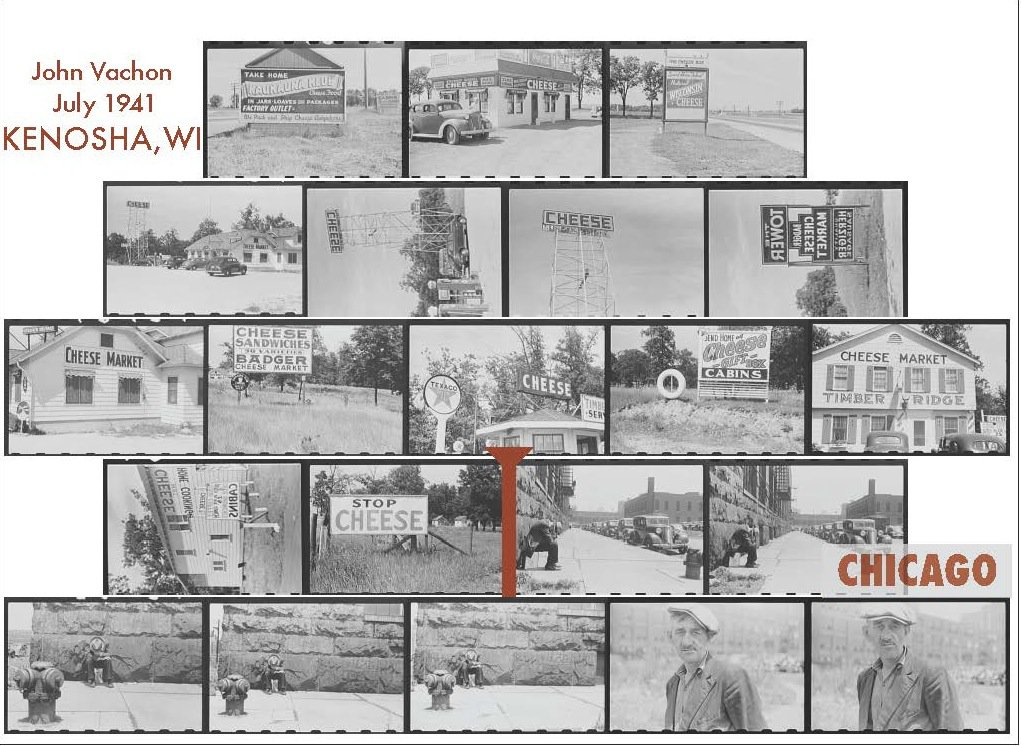 Yale University Photogrammer reconstruction of photo strip from John Vachon's trip from Kenosha, Wisconsin to Chicago, Illinois in July 1941
