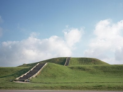 One of the more than 100 earthen mounds preserved at the Mounds State Historic Site