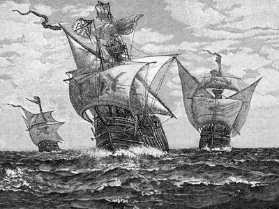 Christopher Columbus' flagship, the Santa Maria, and his companion ships Pinta and the Nina approaching land. Undated Woodcut.