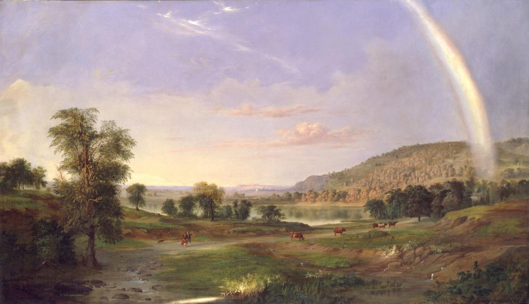 A landscape painting with a rainbow.