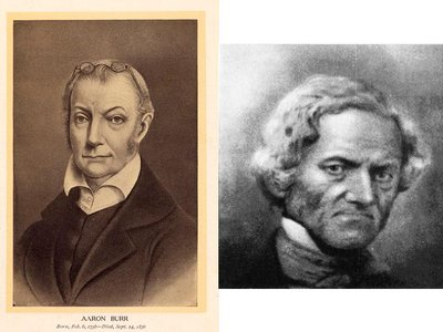 Aaron Burr (left) and his son, abolitionist John Pierre Burr (right)
