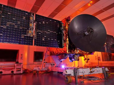 he Hope spacecraft of the United Arab Emirates' Emirates Mars Mission during testing.