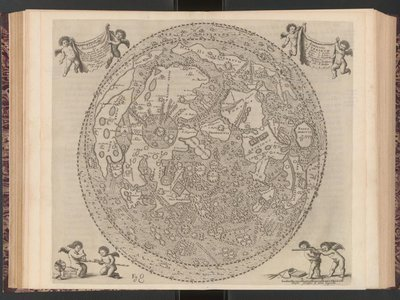 A map of the moon with labeled features, from Selenographia by Johannes Hevelius.