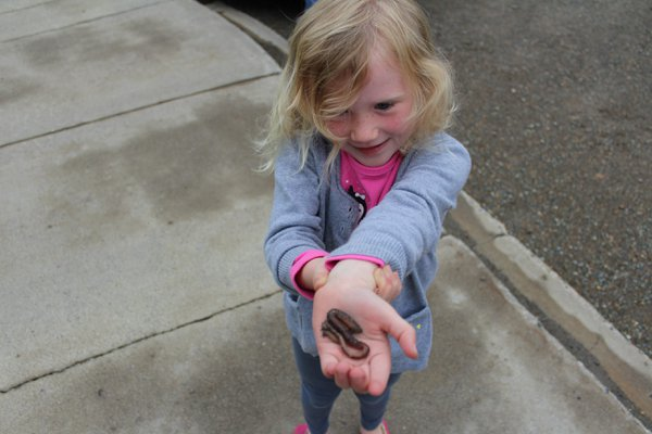 Young girls first experience with a worm. thumbnail