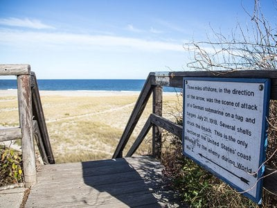 A sign marks the spot on Nauset Beach