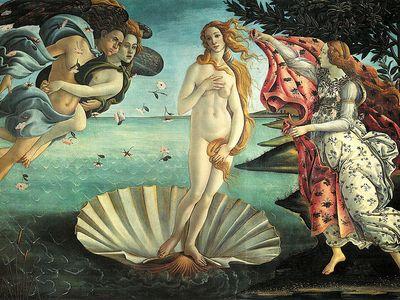 "Sandro Botticelli's ""Birth of Venus"" finds its subject striking a contrapposto pose"