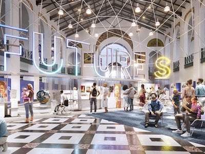 """Artist's rendering of """"Futures,"""" an upcoming exhibition at the Smithsonian's Arts and Industries Building"""