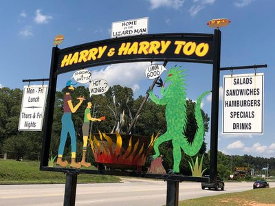 A restaurant in Bishopville, S.C. markets the town's association to the Lizard Man.