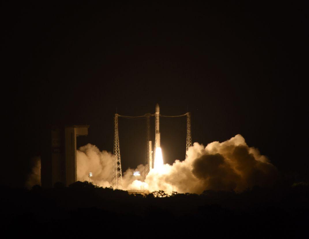 Liftoff of Vega VV06 carrying LISA Pathfinder on 3 December 2015 from Europe's Spaceport, French Guiana. Via ESA–Stephane Corvaja, 2015