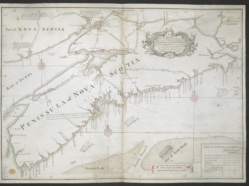 Map of Nova Scotia made in 1755 by provincial chief surveyor Charles Morris