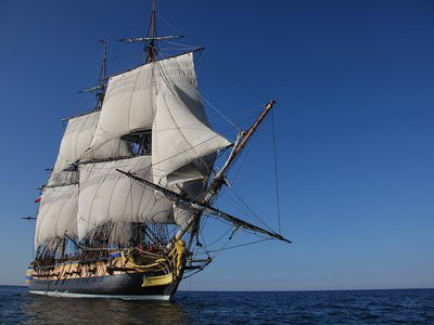 The Hermione, 17 years in the making, replicates the original wartime frigate that ferried the Marquis de Lafayette to America in 1780.