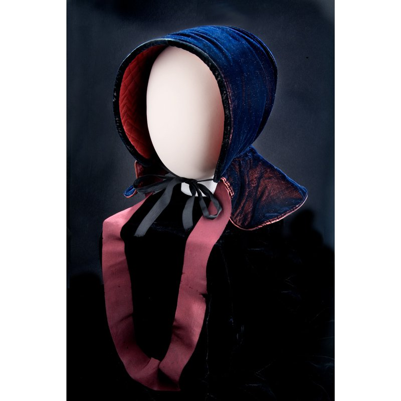 Blue lined bonnet with pink ribbon strap