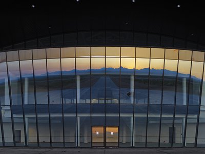 """The """"Gateway to Space"""" in Spaceport America, a 4,000-square-foot gallery where visitors can watch launches."""