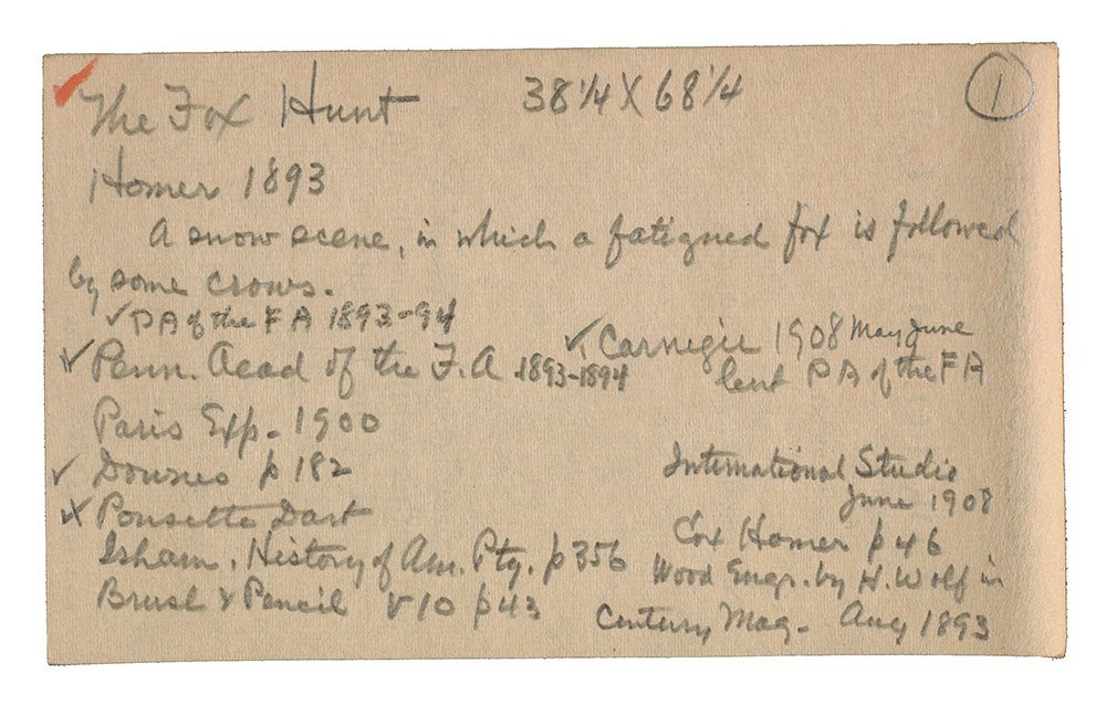 Notecard from Arthur McKean's research on The Fox Hunt by Winslow Homer