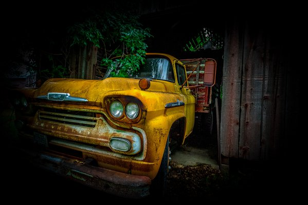 A view to the past  ,Nebraska   chevy  yellow  grain truck . thumbnail