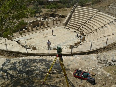 The city of Metropolis features structures from many eras. This theater dates to the Hellenistic period.