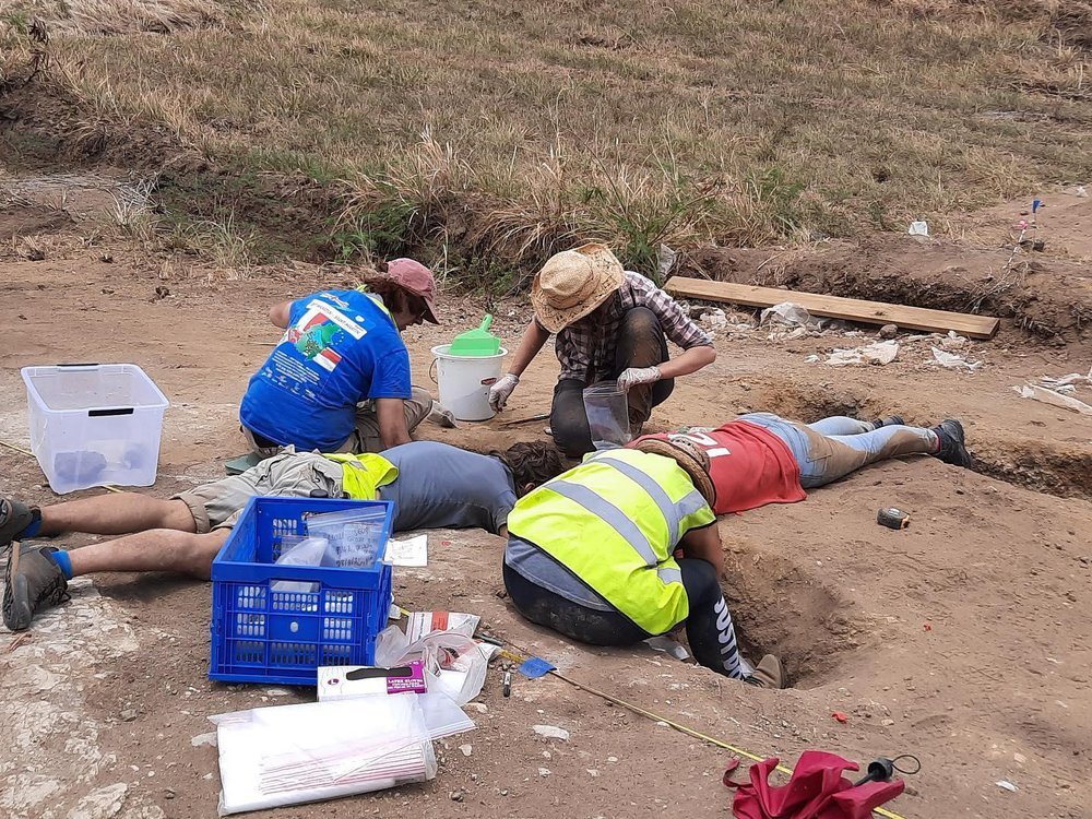 A group of four people clad in hats and reflective gear kneel and lie on their stomachs, peering into a hole dug into the dirt