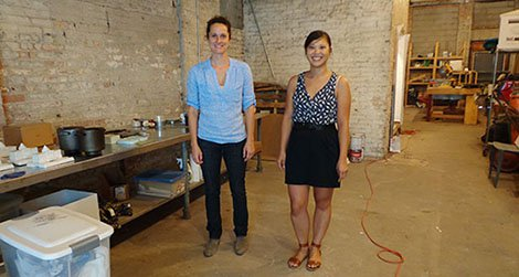 Caroline Linder (left) and Lisa Smith of ODLCO at their new (semi-finished) space in Chicago.