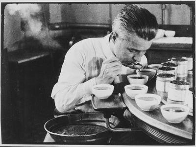 A federal tea taster at work.