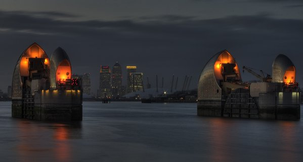 Thames Barrier, O2-Millennium Dome and Canary Wharf at twilight thumbnail