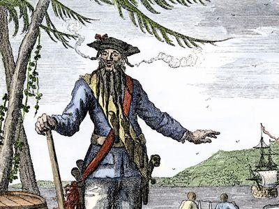 An illustration of Blackbeard, the famed pirate