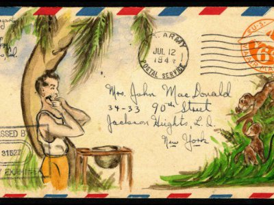 While stationed in the Pacific Theater in the 1940s, Jack Fogarty wrote letters to his best friend's wife in Queens, NY, and illustrated the envelopes.