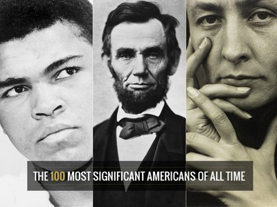 Muhammad Ali, Abraham Lincoln, and Georgia O'Keeffe are among the Americans listed