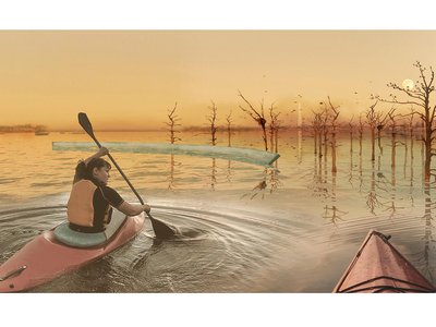 Kayak may be the best way to explore the climate change memorial of the future.