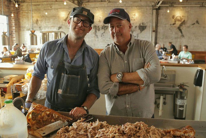 """""""The Southern BBQ Trail"""" episode. Still from Bizarre Foods with Andrew Zimmern,"""