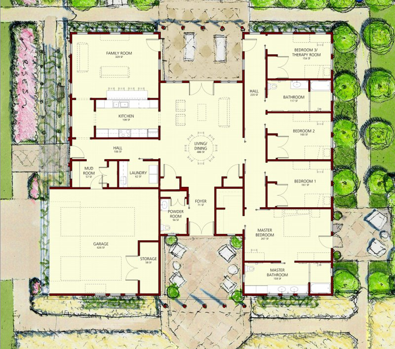 """Michael Graves & Associates, Floor Plan for the """"Patriot"""" Wounded Warrior Home"""