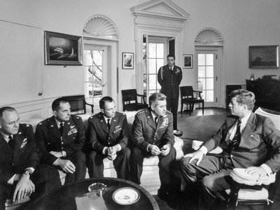 During the 1962 Cuban Missile Crisis, President John F Kennedy discusses results of surveillance missions in Cuba