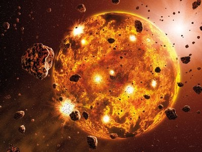 An artist's impression of a planet forming through accretion.