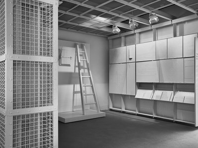 The Evidence Room represents thousands of  pages of testimony that was assembled by Robert Jan van Pelt, an architectural historian and the main expert witness in a British lawsuit brought by a Holocaust denier.