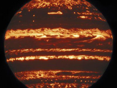 Jupiter seen in high resolution thermal infrared via the Gemini Observatory's Lucky Imaging technique.