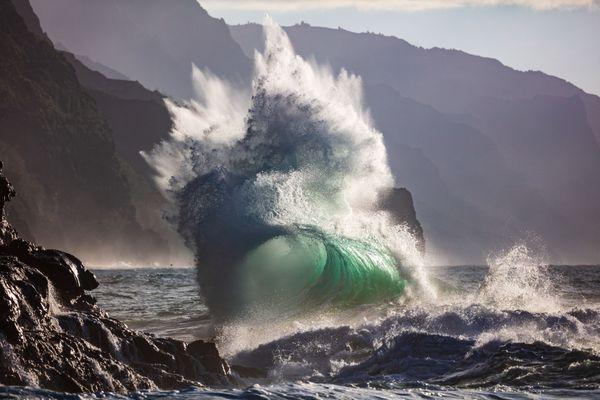 A Large Wave Jumps and Curls Along the Na Pali Coast-- Majestic Kauai thumbnail