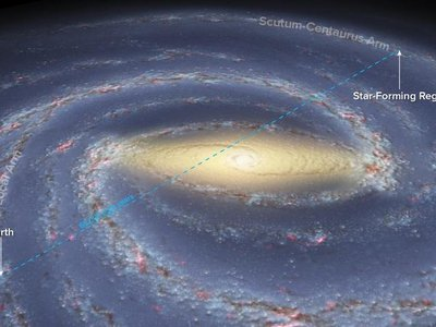 New research allowed astronomers to see a star forming region on the other side of the galaxy.